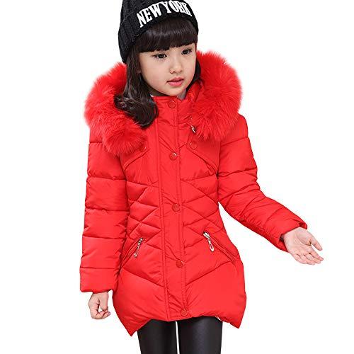 LSERVER Mädchen Dicke warme Daunenjacke Kinder Mode Winterjacke, Rot, 122/128(Fabrikgröße: 130)
