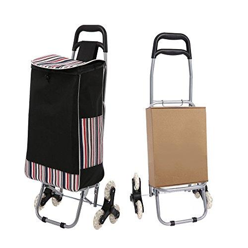 Ultrey Einkaufstrolley mit Treppensteiger 32L Faltbar Einkaufswagen mit Abnehmbarer Tasche Einkaufsroller bis 30kg belastbar