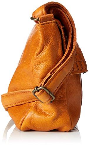 PIECES Damen Pcjimini Leather Cross Body Umhängetasche, 1 x 17 x 25 cm Braun (Cognac)