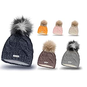Mikos* Damen Mütze Winter | Warme Strickmütze mit Bommel | Innenfleece Damenmütze Gestrickte Bommelmütze | Mütze für Winter | Weiche Wintermütze | Farbenauswahl (685)