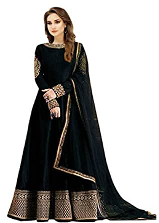 Florely Women's Black Banglori Silk Sequined Unstiched Dress Material With Duppta(FreeSize)