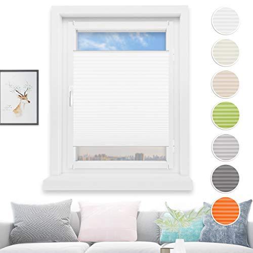 HOMEDEMO Plissee Rollo Klemmfix Ohne Bohren 40x200 cm Jalousie für Fenster und Tür Sichtschutz und Sonnenschutz Weiß
