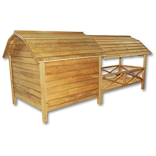 XXL Hundehütte Hundehaus Holz Balkon Garten Terrasse Lamellentüre Hund - 3