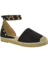 Sandales avec lanières - style espadrilles/rock - à clous/bride cheville - femme