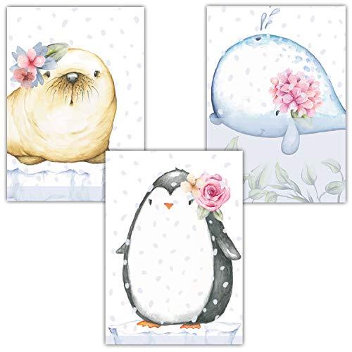 Frechdax® 3er Set Kinderzimmer Poster Babyzimmer Bilder DIN A4 | Mädchen Junge Deko | Dekoration Kinderzimmer | Waldtiere REH Fuchs Hase (3er Set Ocean, Pinguin, Robbe, Wal)
