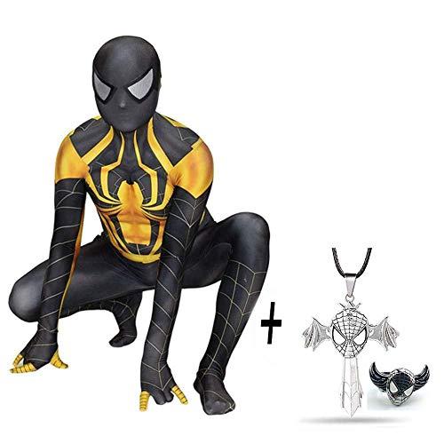Körper Gold Anzug Kostüm - Schwarzes Gold Spiderman Kostüm Adult Body Lycra Jumpsuit Spinnenstrumpfhose Party Movie Kostüm Requisiten Halloween Cosplay + Kreuz Halskette Und Spiderman Ring,S