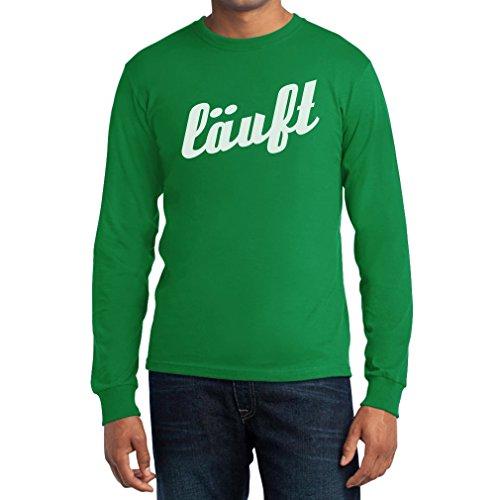 Kultspruch Läuft in sportlicher Schrift Langarm T-Shirt Grün