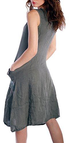 Damen Leinen Kleid ärmellos mit schönen Details Olive Grün