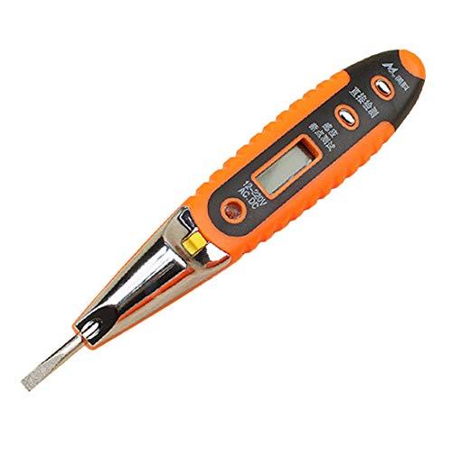 Formulaone Digital-Test Bleistift Multifunktions AC DC 12-250 V Tester Elektrische LCD Display Spannungsprüfer Test-Stift für Elektriker - Orange und Schwarz