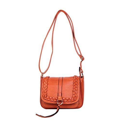 Angkorly - Borse Envelope Clutches messenger bag Tote bag braided Buckle Rings Western / Western Vintage / Retro Bohemian student elegant woman fashion gift idea PS90 CAMEL