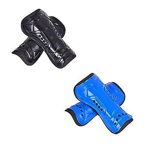 Fußball Shin Guards Leichte atmungsaktive Kind Fußball Shin Pads Kalb Protektoren Fußball-Ausrüstung Durchschnittliche Größe schwarz und blau 2 Paare