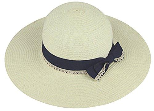URqueen Women's Fashion Large Brim Bowknot Beach Straw Sun Hat white
