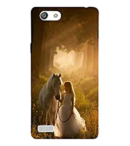 For Oppo Neo 7 :: Oppo A33 girl with horse, girl, horse, sunrise Designer Printed High Quality Smooth Matte Protective Mobile Case Back Pouch Cover by APEX