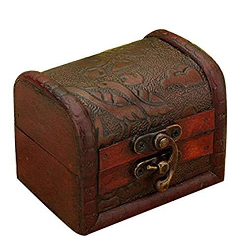 AMOYER Jewelry Box Vintage Wood Handgefertigte Box mit Mini-Metall-Verschluss für die Speicherung von Schmuck Schatz