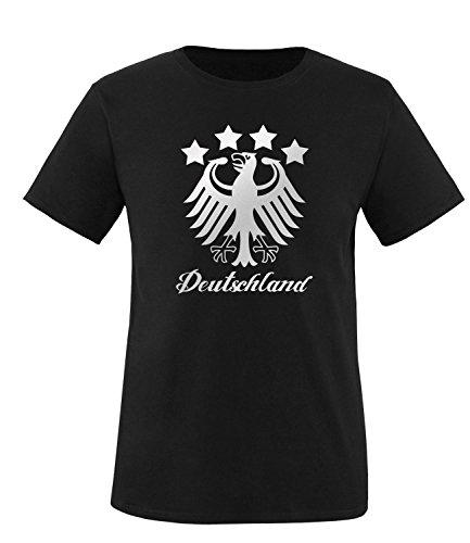 Luckja EM 2016 Deutschland Adler Fanshirt Silver Edition M 01 Herren Rundhals T-Shirt Schwarz/Silber