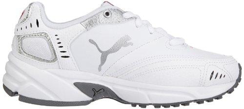 Puma Xenon Trainer, Unisex - Kinder Hallenschuhe Weiß (white-black-puma silver-high risk red-steel grey 05)