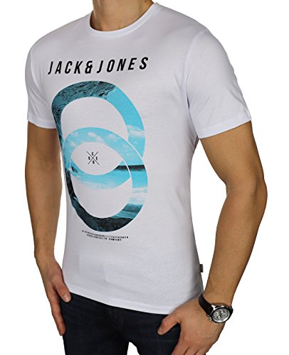 JACK & JONES Herren Freizeit/Sport/Club T-Shirt Crew Neck NOOS Mehrfarbig (L, Weiß (White Fit:reg - Feeling)) (Crew T-shirt Weiß)