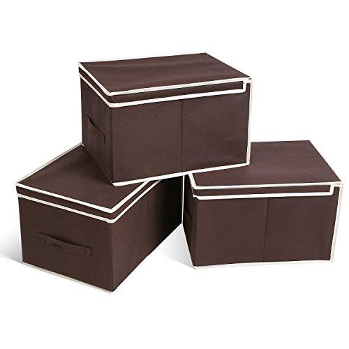 HOMFA 3er Aufbewahrungsboxen Stoff mit Deckel faltbar Schublade Organizer Stoffbox für Schrank oder Schublade,30*40.3*25.7cm