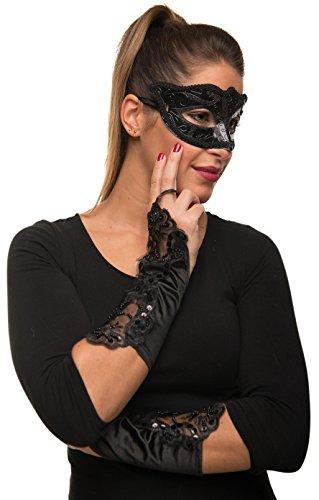 e Maske + Handschuhe im Set für Fasching Karneval Maskenball Kostüm - Verkleidung Frauen / Damen ()