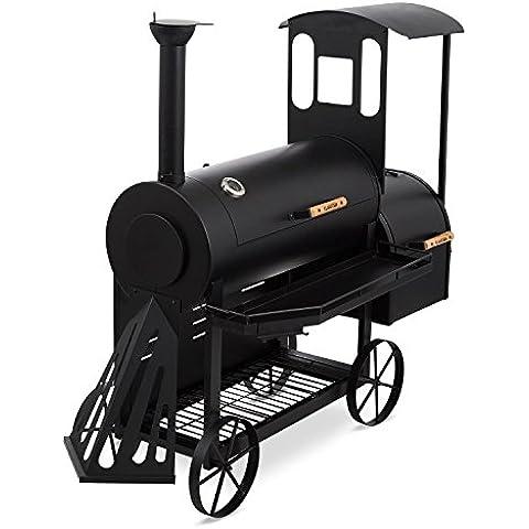 Klarstein Dampflok Parrilla Ahumador (Diseño locomotora vapor, gran parrilla principal con termostato, chapa acero 3 mm, resistente intemperie, barbacoa carbón o leña) - Negra