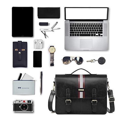 ECOSUSI 15.6 Pollici Laptop Borsa per Uomo Valigetta Uomo Grande Messenger in Pelle Pu Borsa a Tracolla