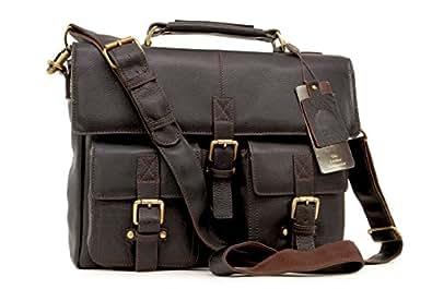 Ashwood Briefcase/Laptop Bag/Satchel - James - Dark Brown Leather