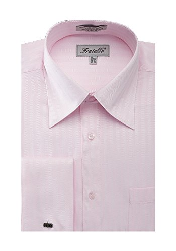 Sunrise Outlet Men's Herringbone French Cuff Shirt Pink