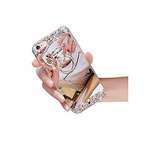 Sycode Custodia Specchio in Silicone per iPhone 8 Plus,Diamante Mirror Cover per iPhone 8 Plus,Strass Bling Tpu Bumper Case per iPhone 8 Plus/7 Plus 5.5 Lusso Moda Donne Della Ragazza Ultrasottile Lu Orso Ring Supporto Argento