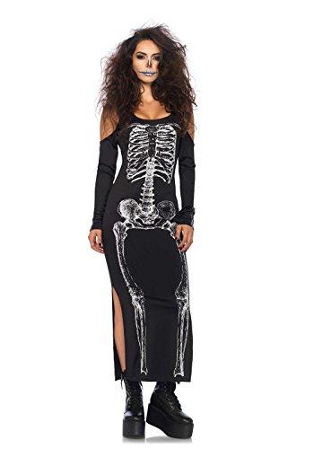 Leg Avenue 85565 - Kalte Schulter Kleid mit Seitenschlitz mit Skelett Druck, Damen Fasching, S/M, (Skelett Leg Kostüme Avenue)