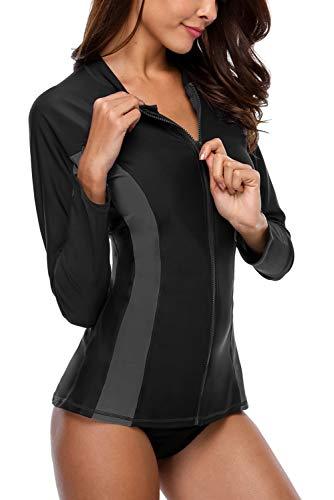 Vegatos Damen Rash Guard Sportlich UV Shirt Langarm UV-Shutz Badeshirt mit Reißverschluss Schwimmshirt UPF 50+ Schwarz 2XL