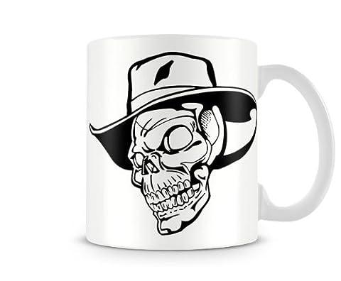 SKL_022 Skull Mugs, - Cowboy Hat - Mug cool gift funny custom personalised printed mugs