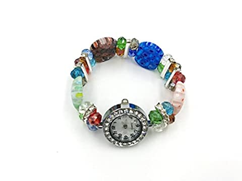 Skyllc® Wrap Wrist Watch Perles de verre Bracelet pour femme Bracelet Bangle Round Rhinestone Crystal Time Watch