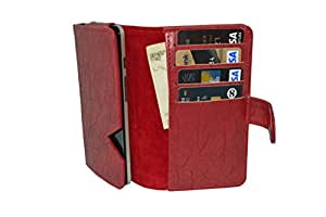 Generic Premium Leather Fabric Card Holder Pouch for - Adcom Thunder A430 + - Red - CHPRD45#0034DR