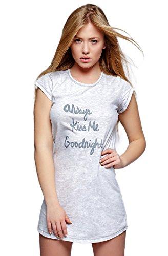 Sensis Stylisches Negligee Nachthemd Sleepshirt mit niedlichem Motiv auf der Brust aus 100% Baumwolle, grau, Gr. S (36)
