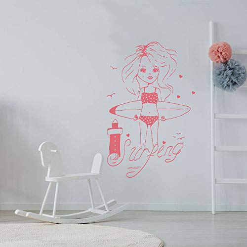 Geiqianjiumai Surfer Style Strand Mädchen Teenager Indoor Schlafzimmer Aufkleber Wohnkultur Modern Einfach Niedlich Fun Pink 42x63cm