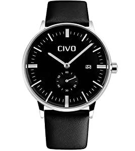 CIVO Men's Simple Design Leather Band Wrist Watch Mens Classic Fashion Dress Analogue Quartz Wrist Watches 30m Waterproof Luxury Business Casual Wristwatch with Sub Dial and Date Calendar (Black)