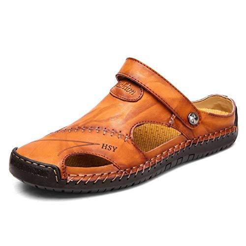 ra Hombre Zapatillas de Deporte clásicas romanas Zapatillas de Trekking acuáticas Deslizamiento en Verano Pisos al aire Libre Casual Slingback Zapatos cerrados ()