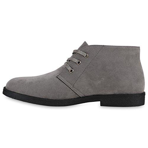 Desert Boots Herren Geschnürte Raulederoptik Schuhe Freizeit Grau