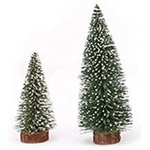 WINOMO 6pz Mini albero di natale bastone cedro bianco ornamento Desktop piccolo albero di Natale