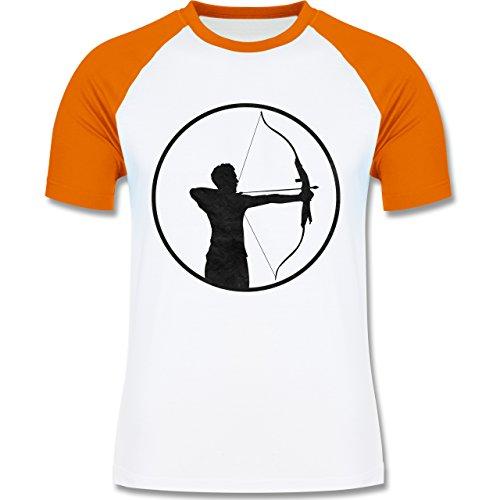 Sonstige Sportarten Bogenschütze zweifarbiges Baseballshirt für Männer Weiß /Orange