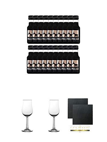 Muli 68 Kräuterlikör 20 x 2cl in PET Flasche + 2 Bugatti Nosing Gläser mit Eichstrich 2cl und 4cl + 2 Schiefer Glasuntersetzer eckig ca. 9,5 cm Ø