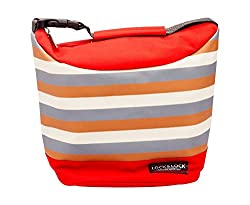 Lock & Lock Plastic Lunch Box with Stripes Bag Set, 4-Pieces, Red