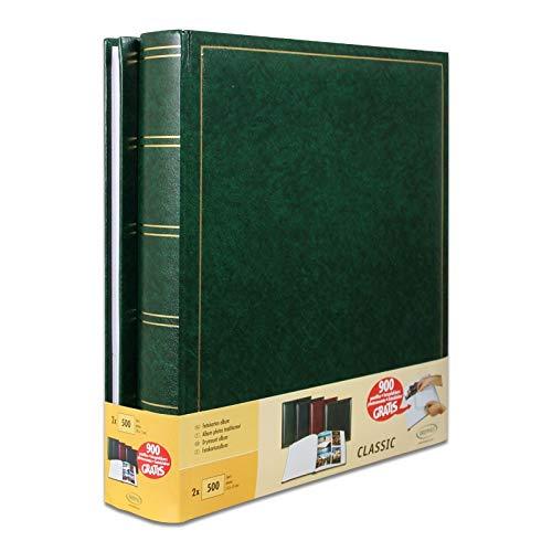 Brepols - Lot de 2 albums geants traditionnels - 100 pages pour 500 photos 10x15 - Vert