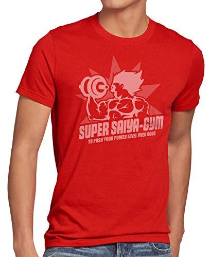 style3 Super Saiya Gym Herren T-Shirt Anime Turtle Ball Z Songoku Dragon Sport Fitness Push Power, Größe:M, Farbe:Rot