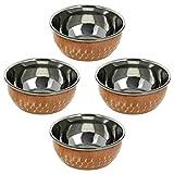 WONDERLIST HANDICRAFTS Servierschalen aus Kupfer für indische Utensilien, Serviergeschirr, Katoris, 4 Stück