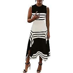 Robe Rayure Femme,Honestyi Chic Jupe de Soirée Cocktail Dress de Plage Casual Robe Col Rond Combinaison sans Manches Jupe Longue Robe Vacances Fête Robe