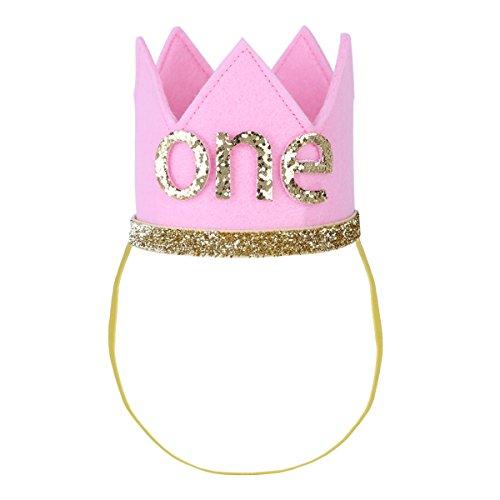 1. Geburtstag Party Kronen mit Zahlen Baby Junge Mädchen 1 jahr Party Kopfschmuck Hut Prinzessin Prinz Kronen Dekoration Zubehör Accessoires für Fotoshooting Rosa mit One One Size