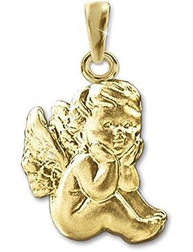 CLEVER SCHMUCK Goldener Anhänger 12 mm Babyengel sitzend seidenmatt klassisch barock 333 GOLD 8 KARAT