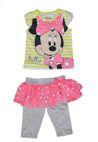 Minnie mouse -hello- t-shirt a righe e arruffati gambali set di vestiti legging
