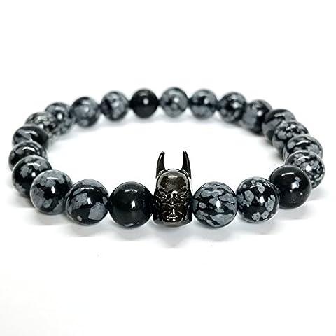 GOOD.designs Chakra Perlen-Armband aus Onyx- / (Snowflake) Obisidian-Natursteinen, Fledermaus-Anhänger in Gold (Snowflake / Schwarz)